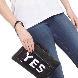 new Yes/No Sequin Swipe Clutch ☻ Vegan Leather ☻︎